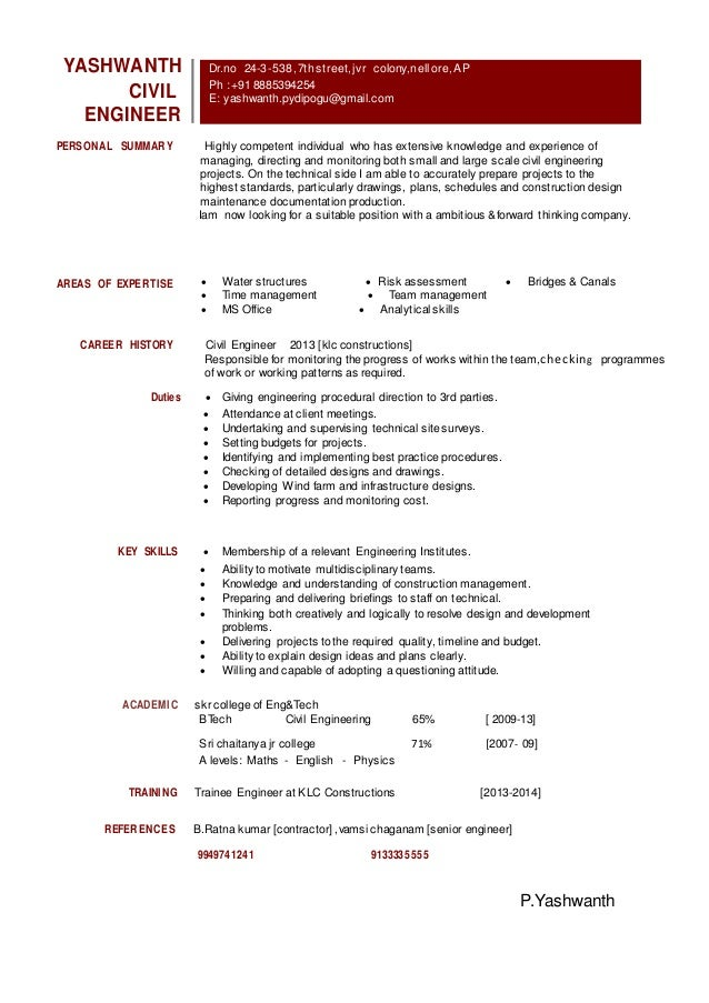 2 btech civil engineer resume