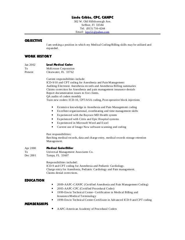 Linda Cribbs Resume