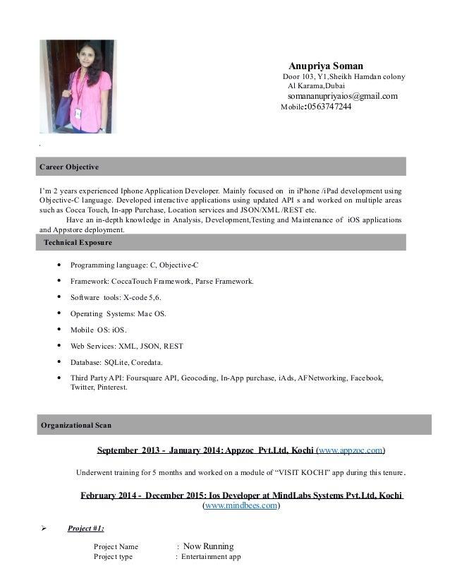 Anupriya IOS Dev Resume. Anupriya Soman Door 103, Y1,Sheikh Hamdan Colony  Al Karama,Dubai Somananupriyaios@ ...  Ios Developer Resume