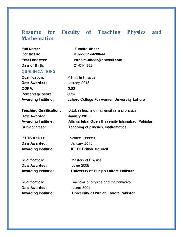 Resume For Faculty Of Teaching Physics