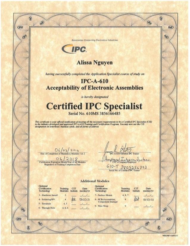 Ipc A 610 Certification