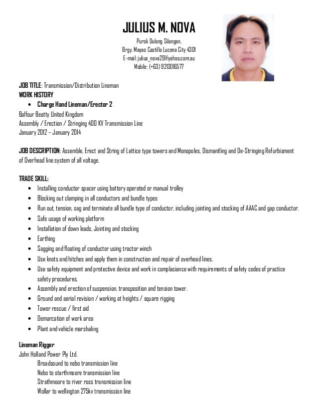 JULIUS NOVA RESUME