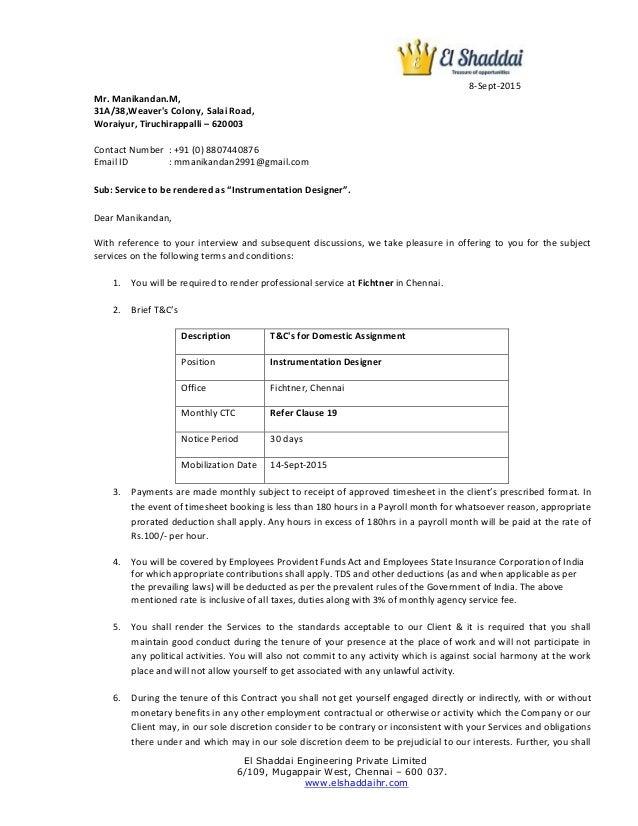 Revised Offer Letter Manikandan