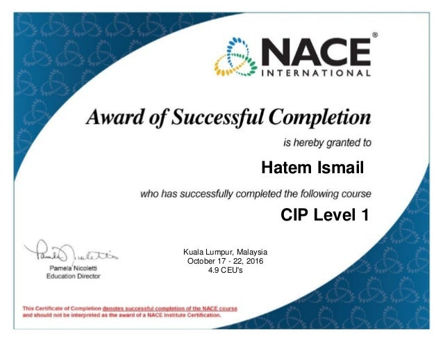 Course Completion Certificate Course Cip1 For On 10 22 2016 5 00