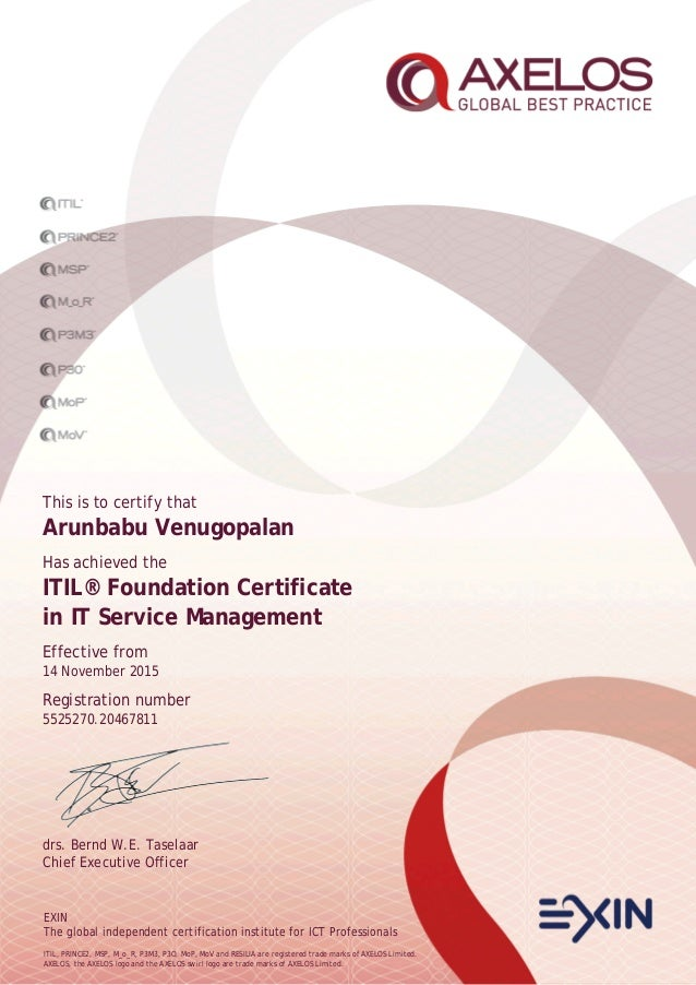 EXIN The global independent certification institute for ICT Professionals ITIL, PRINCE2, MSP, M_o_R, P3M3, P3O, MoP, MoV a...