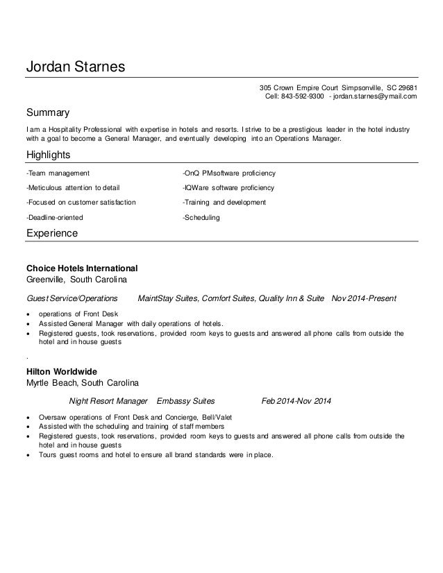 Jordan Starnes Resume 2014