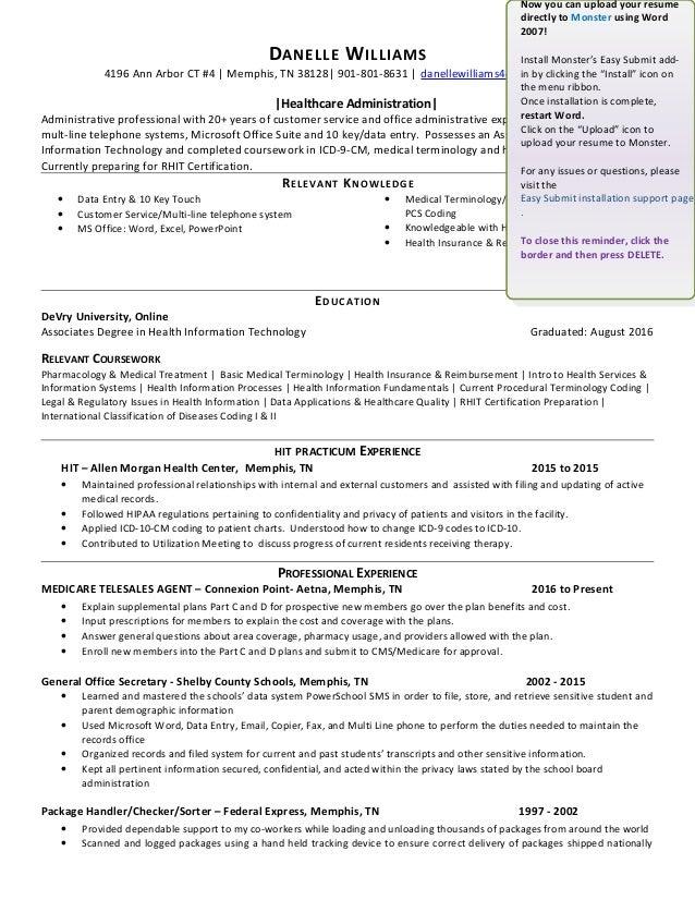 Danelle Williams Resumehealthcare Administration 2