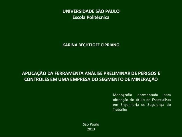 UNIVERSIDADE SÃO PAULO Escola Politécnica KARINA BECHTLOFF CIPRIANO APLICAÇÃO DA FERRAMENTA ANÁLISE PRELIMINAR DE PERIGOS ...