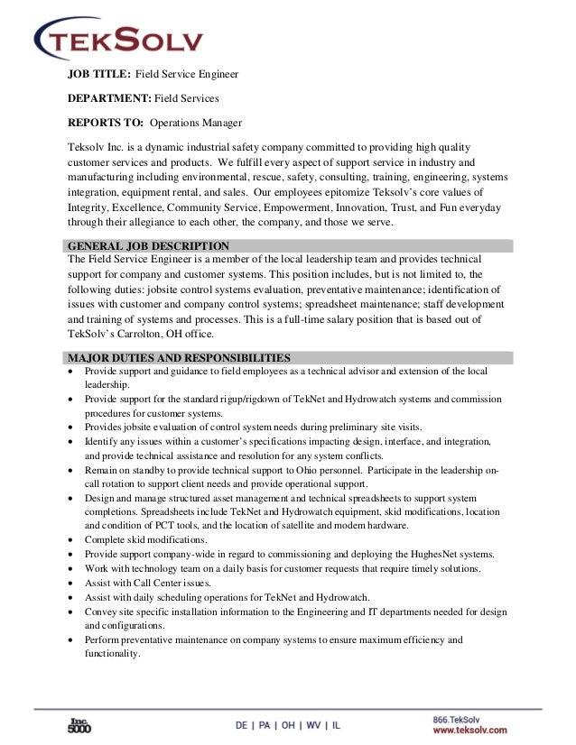 Field Service Engineer Job Description