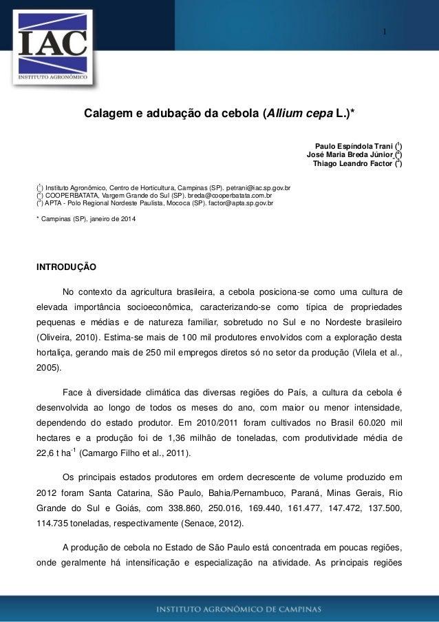 1  Calagem e adubação da cebola (Allium cepa L.)* 1  Paulo Espíndola Trani ( ) 2 José Maria Breda Júnior ( ) 3 Thiago Lean...
