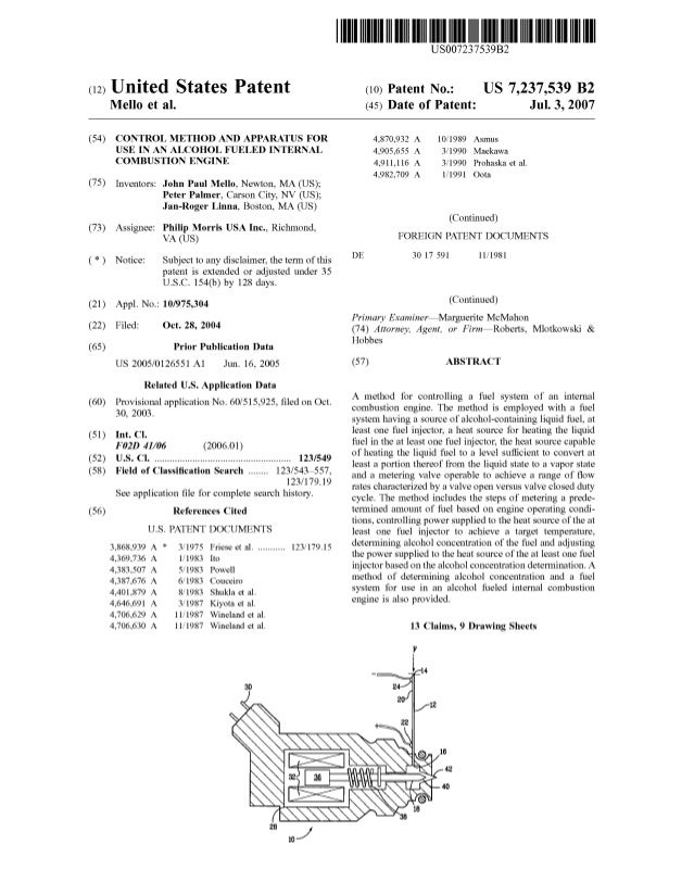 c12) United States Patent Mello et al. (54) CONTROL METHOD AND APPARATUS FOR USE IN AN ALCOHOL FUELED INTERNAL COMBUSTION ...