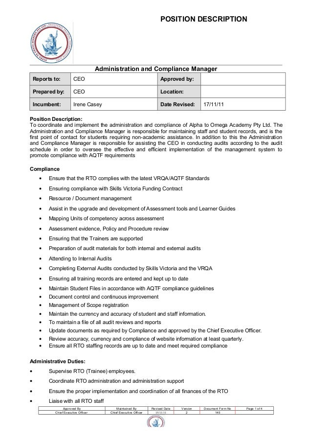 Administration And Compliance Manager Position Description