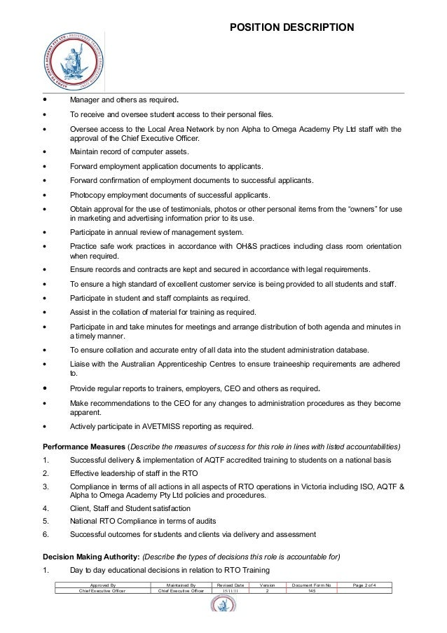 Administration and compliance manager position description - Job description of compliance officer ...