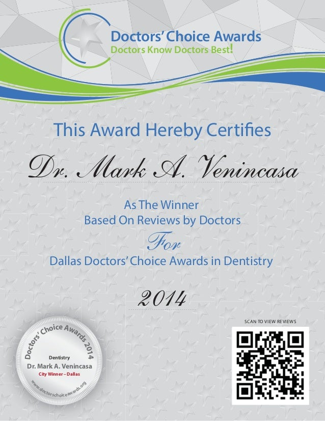 Doctors Choice Awards 2014 Winner Certificate – Certificate Winner