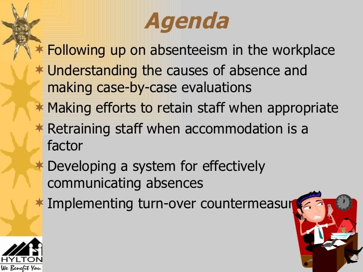 absenteeism and attendance of employees Additional data pieces useful to assess in the employee population are the number and reasons for employee absenteeism of attendance and absenteeism policies is.