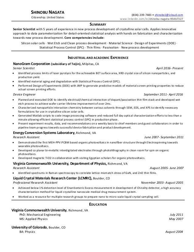 senior scientist shinobu nagata resume