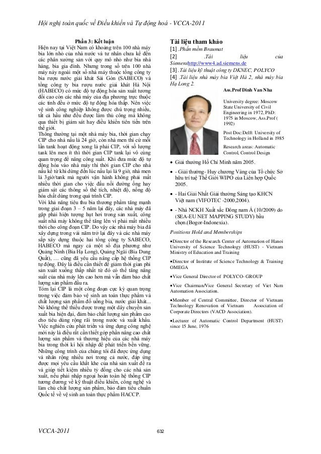 Hội nghị toàn quốc về Điều khiển và Tự động hoá - VCCA-2011 VCCA-2011 Phần 3: Kết luận Hiện nay tại Việt Nam có khoảng trê...