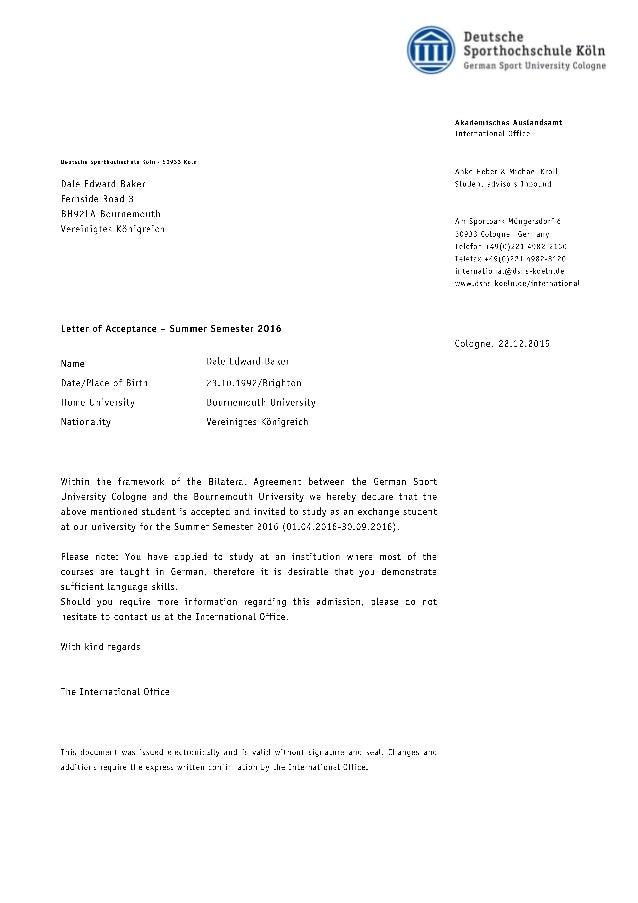 Cologne University Offer Letter