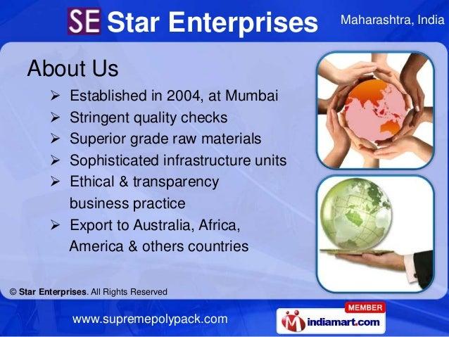 Star Enterprises         Maharashtra, India    About Us          Established in 2004, at Mumbai          Stringent quali...