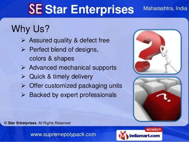 Star Enterprises       Maharashtra, India    Why Us?          Assured quality & defect free          Perfect blend of de...