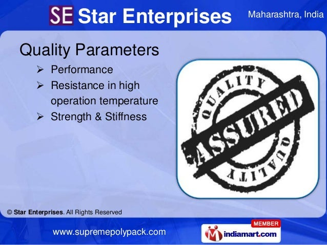 Star Enterprises   Maharashtra, India    Quality Parameters          Performance          Resistance in high           o...