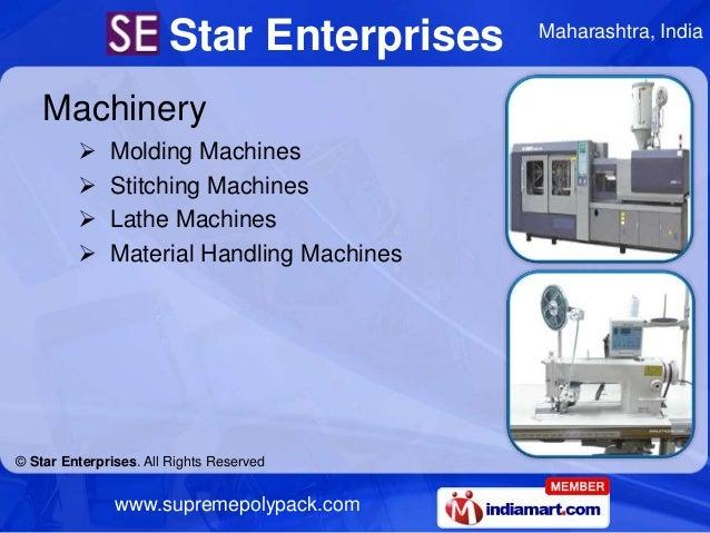Star Enterprises    Maharashtra, India    Machinery             Molding Machines             Stitching Machines         ...