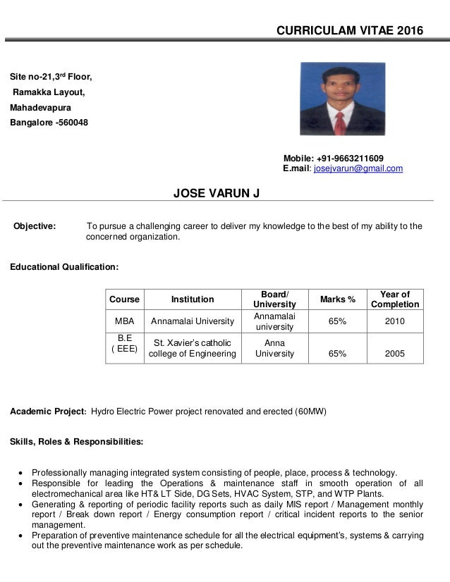 jose varunTechnical Assistant Facility Manager resume
