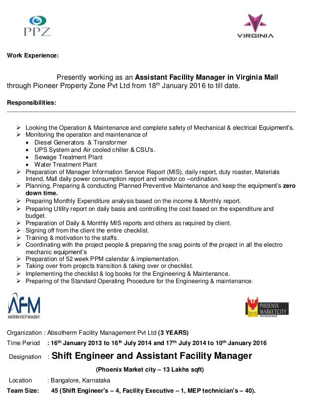 jose varun technical assistant facility manager resume