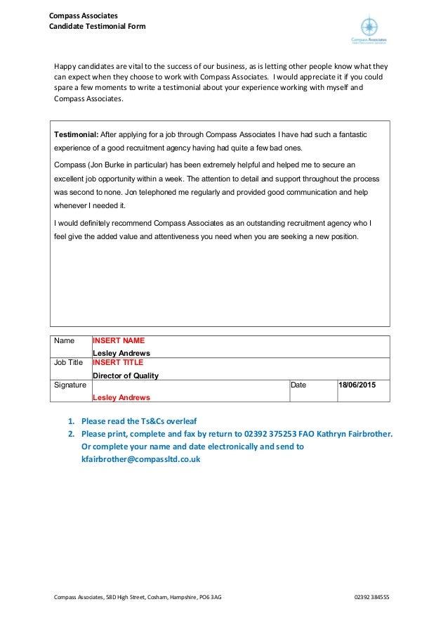 Lesley Andrews Testimonial Form