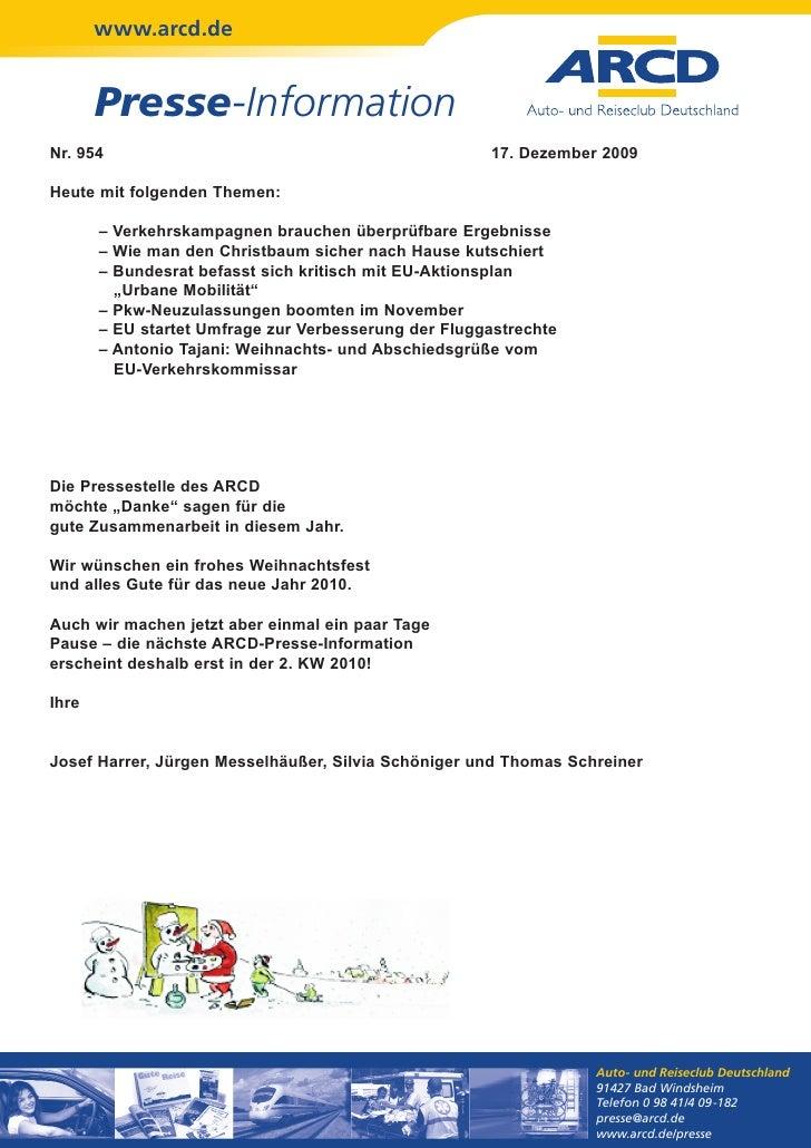www.arcd.de       Presse-InformationNr. 954                                               17. Dezember 2009Heute mit folge...