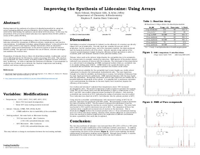 Improving The Synthesis Of Lidocaine Using Arrays Abstract Having Improved
