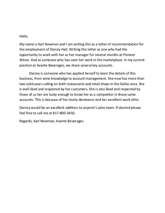 sample letter of recommendation for former employee