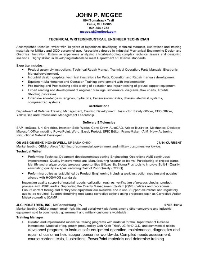 mcgee resume technical writer