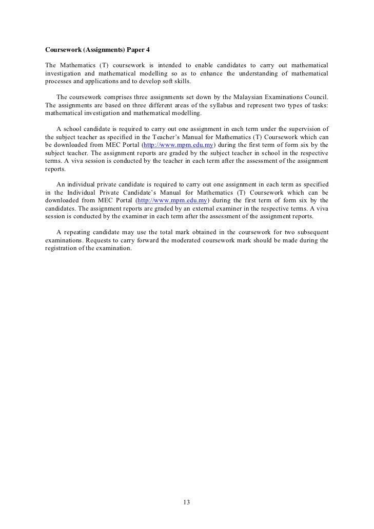 stpm 954 math t coursework 2014 sem 3