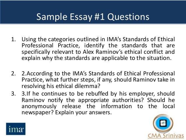 cma part 1 sample essay questions