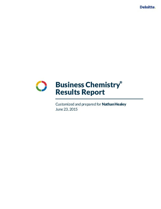 Business Chemistry Results Report Customized and prepared for Nathan Healey June 23, 2015 ®