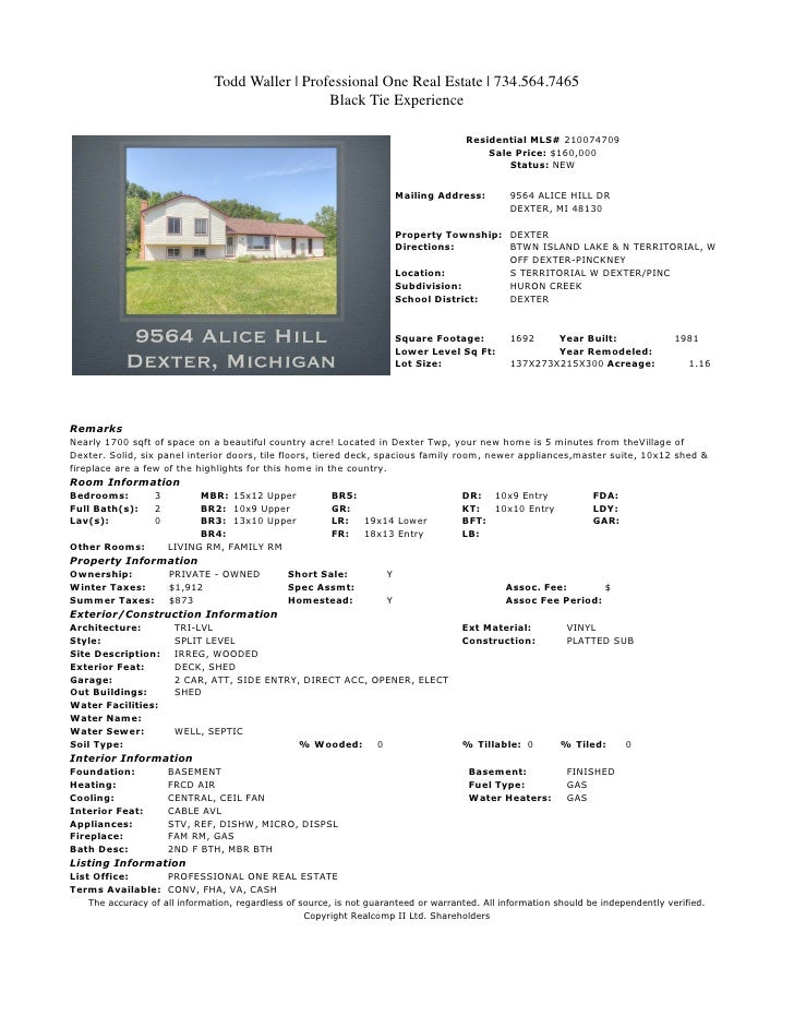 Todd Waller | Professional One Real Estate | 734.564.7465                                                 Black Tie Experi...