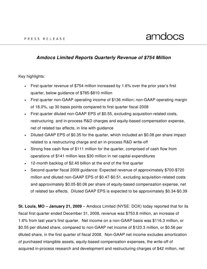 Amdocs Limited Reports Quarterly Revenue of $754 Million   Key highlights:     •   First quarter revenue of $754 million i...