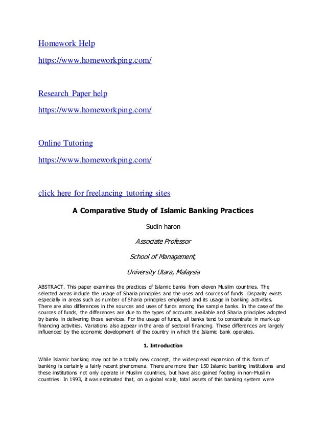 comparison study of conventional banking versus Conventional banking vs islamic banking - comparative analysis of the  dynamics of operations - matloobullah khan - research paper (undergraduate) .