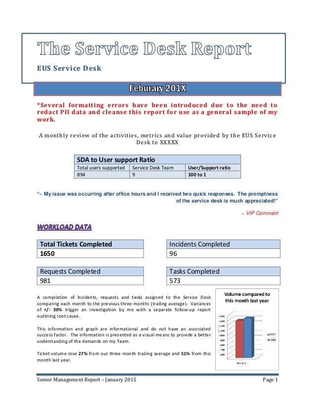 Senior management service desk report sample for Facilities management report template