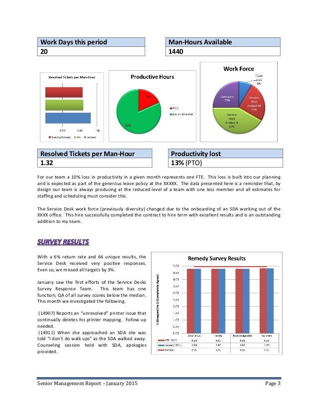 3. Senior Management Report ...