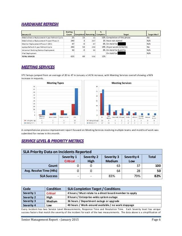6. Senior Management Report ...