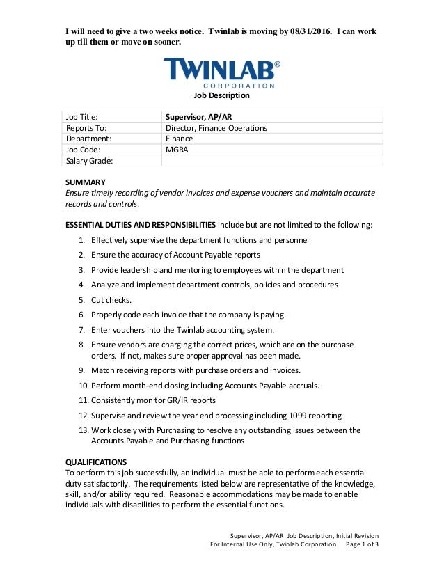 I will need to give a two weeks notice. Twinlab is moving by 08/31/2016. I can work up till them or move on sooner. Job De...