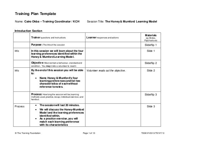 Training Plan Template - Honey & Mumford Learning Model