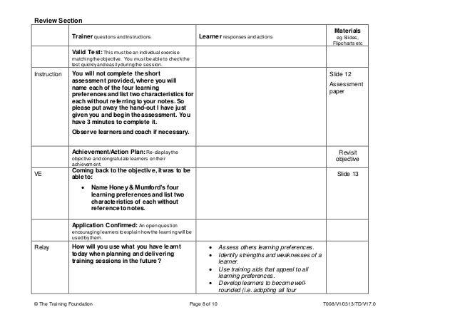 training plan template honey mumford learning model