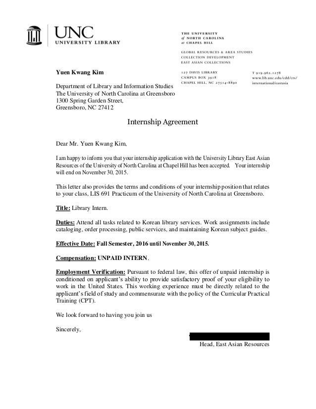 Internship Agreement Of Unc