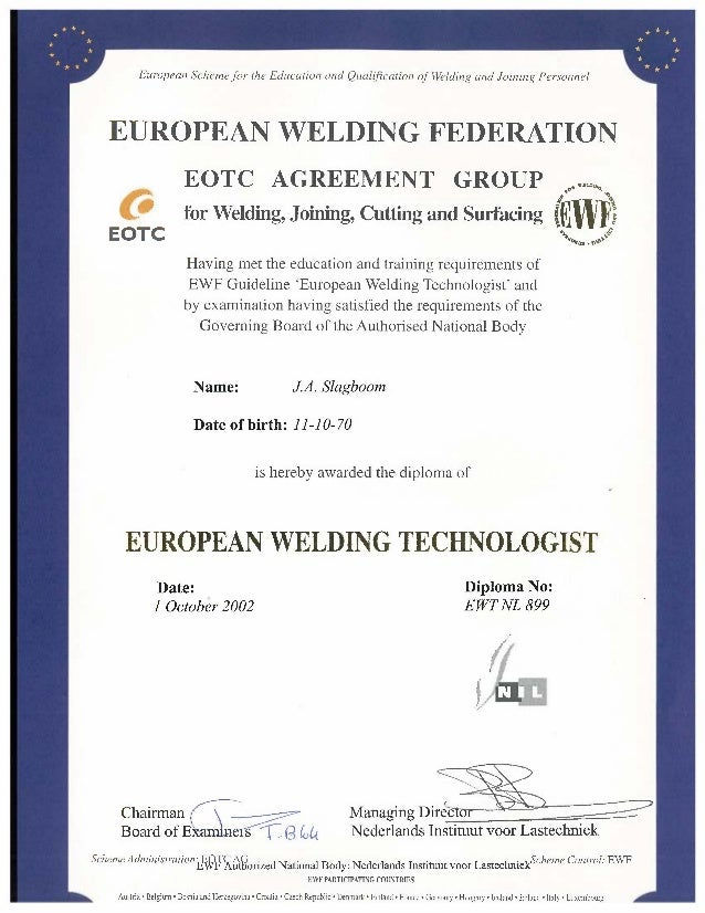mlt diploma ewt european scheme for the education and qualification of welding and joining personnel european welding federation eotc