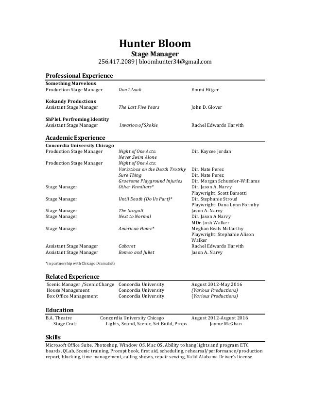 stage manager resume  bloom