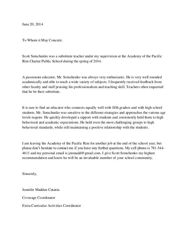 teaching letter of recommendation