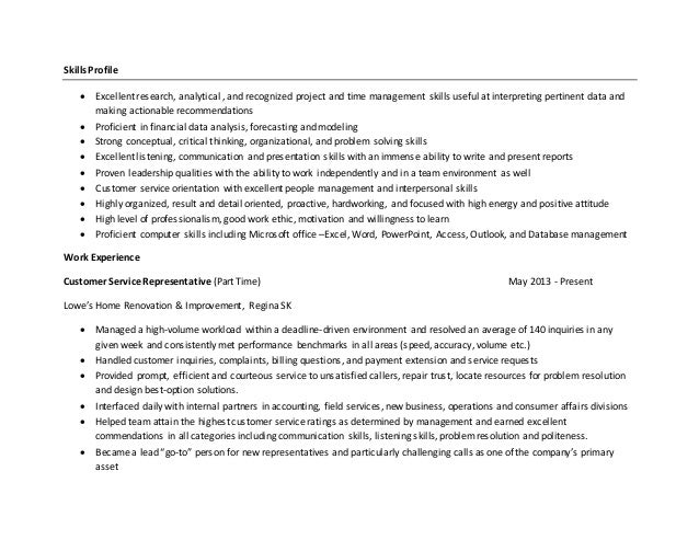 skills profile excellent research analytical - Analytical Skills Resume